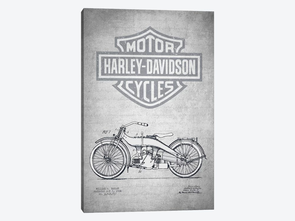 Harley-Davidson Motorcycles (Gray Vintage) III by Aged Pixel 1-piece Canvas Wall Art