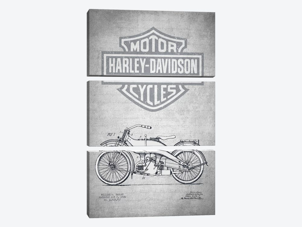 Harley-Davidson Motorcycles (Gray Vintage) III by Aged Pixel 3-piece Canvas Art