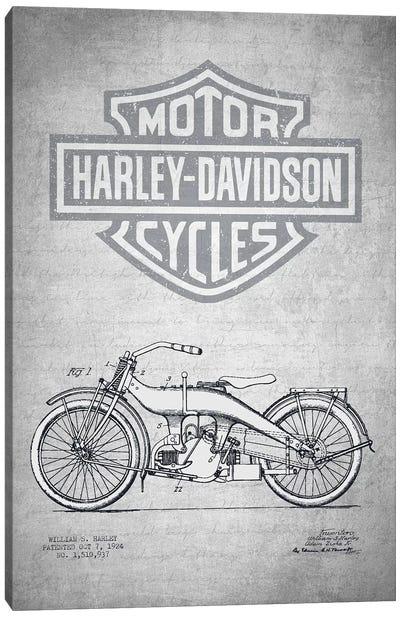 Harley-Davidson Motorcycles (Gray Vintage) III Canvas Art Print