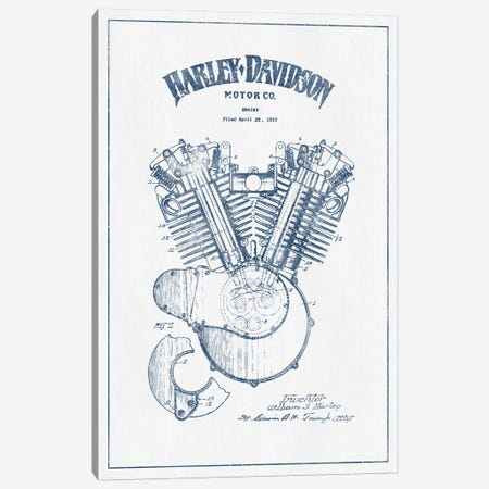 Harley-Davidson Motorcycles (Ink) I Canvas Print #ADP2947} by Aged Pixel Canvas Wall Art
