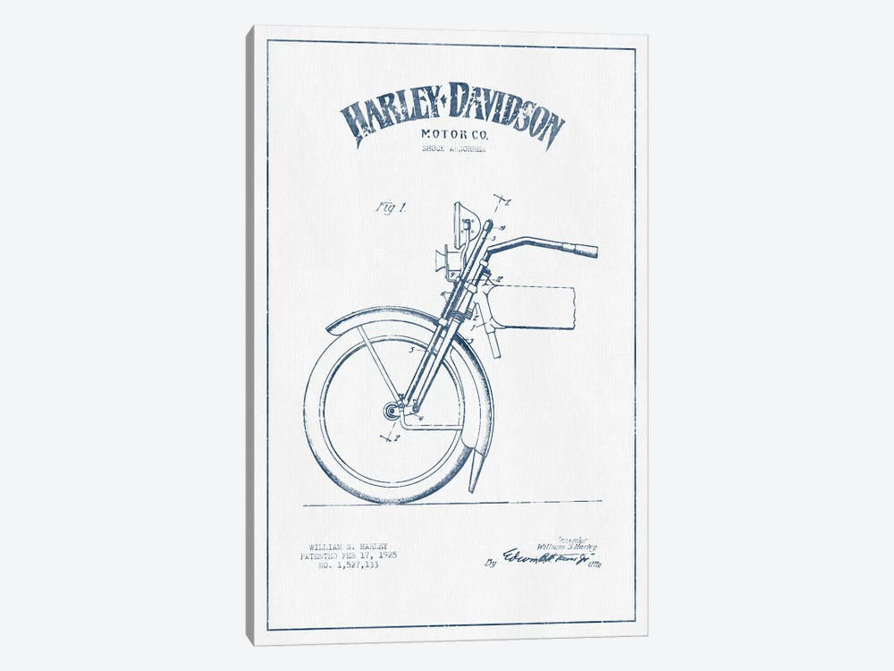 Harley-Davidson Motorcycles (Ink) II by Aged Pixel 1-piece Canvas Art