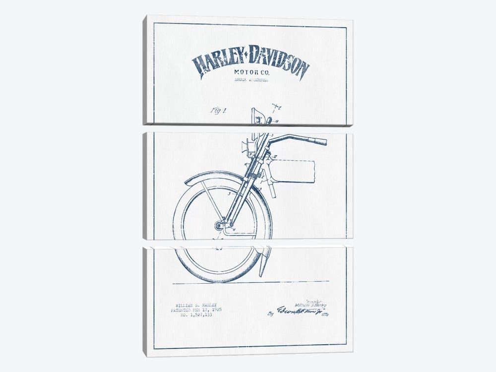 Harley-Davidson Motorcycles (Ink) II by Aged Pixel 3-piece Canvas Art