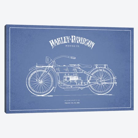 Harley-Davidson Motorcycles (Light Blue) I Canvas Print #ADP2949} by Aged Pixel Art Print