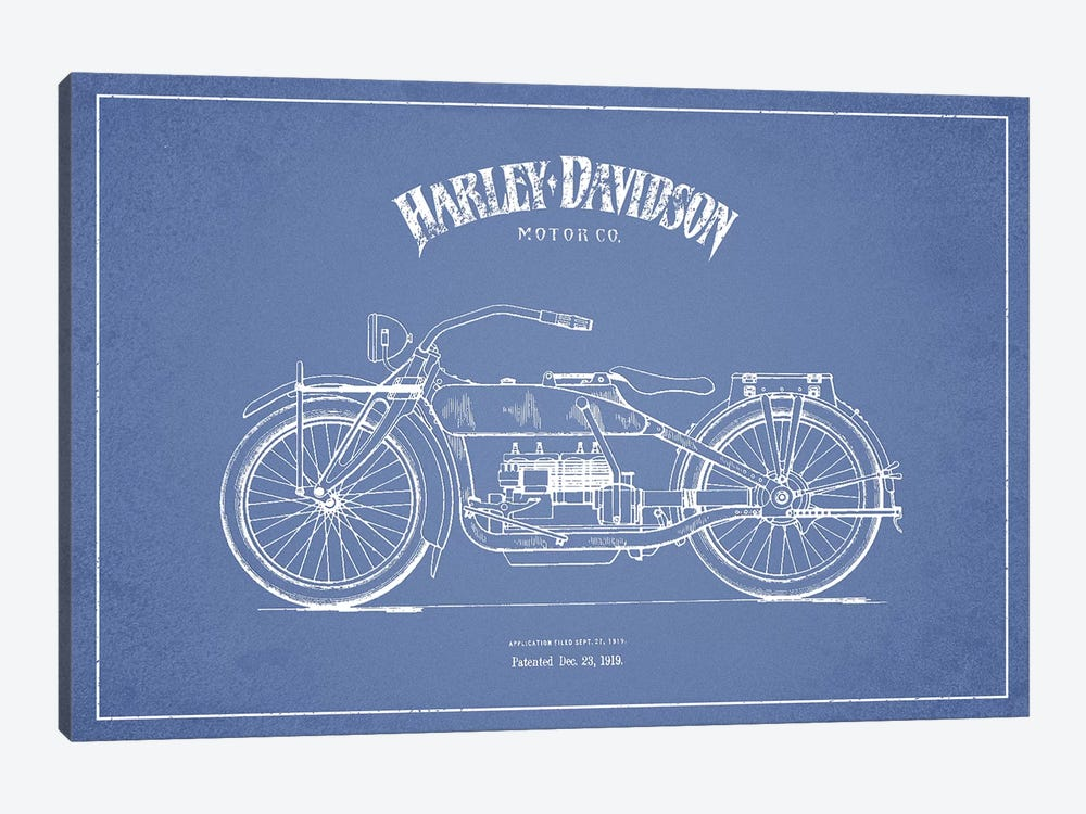 Harley-Davidson Motorcycles (Light Blue) I by Aged Pixel 1-piece Art Print
