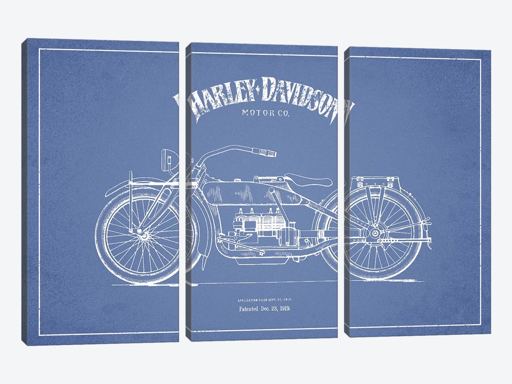 Harley-Davidson Motorcycles (Light Blue) I by Aged Pixel 3-piece Art Print