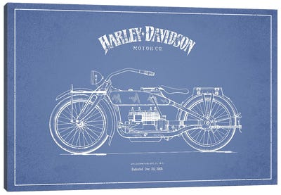 Harley-Davidson Motorcycles (Light Blue) I Canvas Art Print