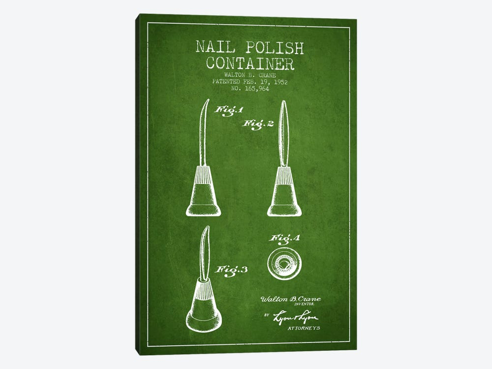 Container Nail Polish Green Patent Blueprint by Aged Pixel 1-piece Art Print