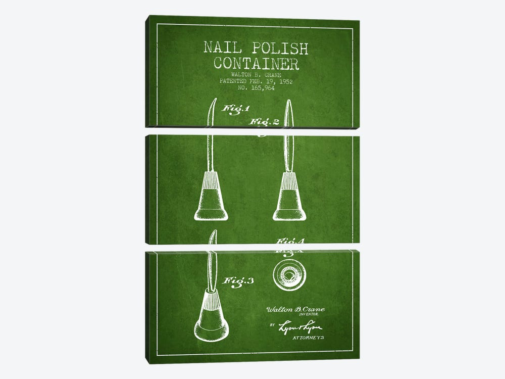 Container Nail Polish Green Patent Blueprint by Aged Pixel 3-piece Canvas Art Print