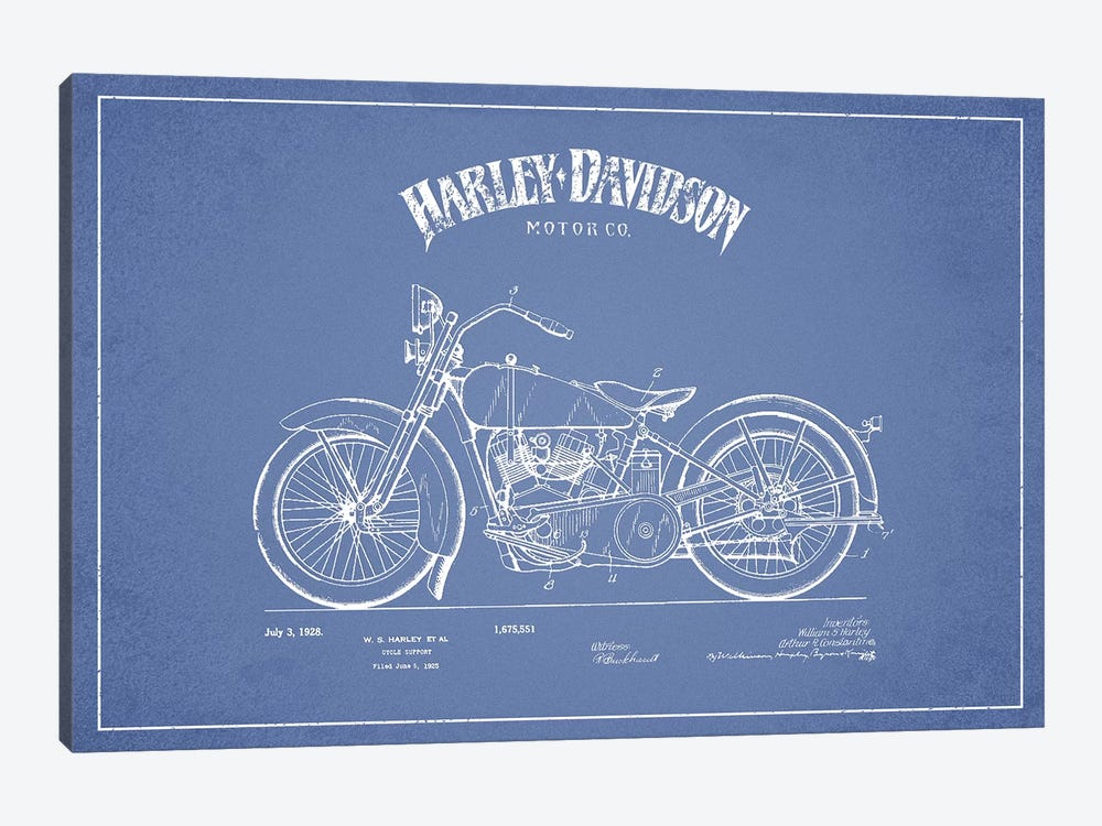 Harley-Davidson Motorcycles (Light Blue) II by Aged Pixel 1-piece Canvas Print