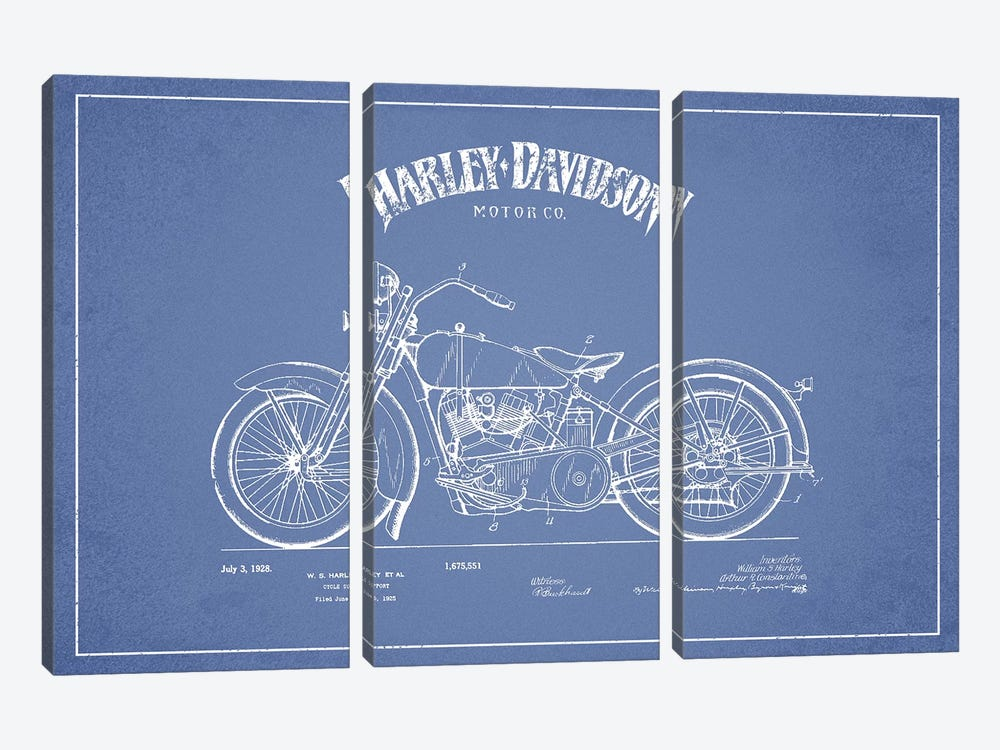 Harley-Davidson Motorcycles (Light Blue) II by Aged Pixel 3-piece Canvas Print