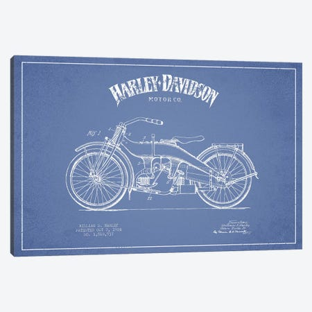 Harley-Davidson Motorcycles (Light Blue) III Canvas Print #ADP2951} by Aged Pixel Canvas Art