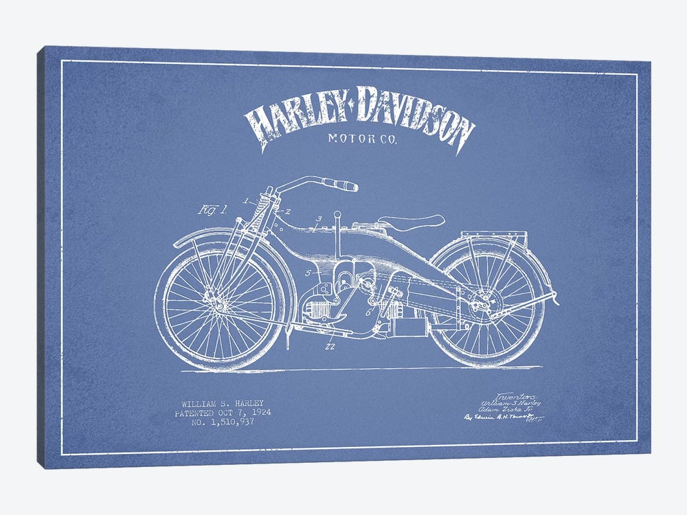 Harley-Davidson Motorcycles (Light Blue) III by Aged Pixel 1-piece Canvas Artwork