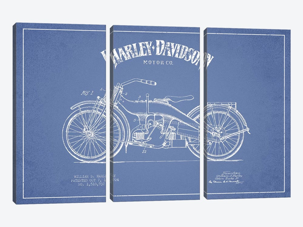 Harley-Davidson Motorcycles (Light Blue) III by Aged Pixel 3-piece Canvas Art