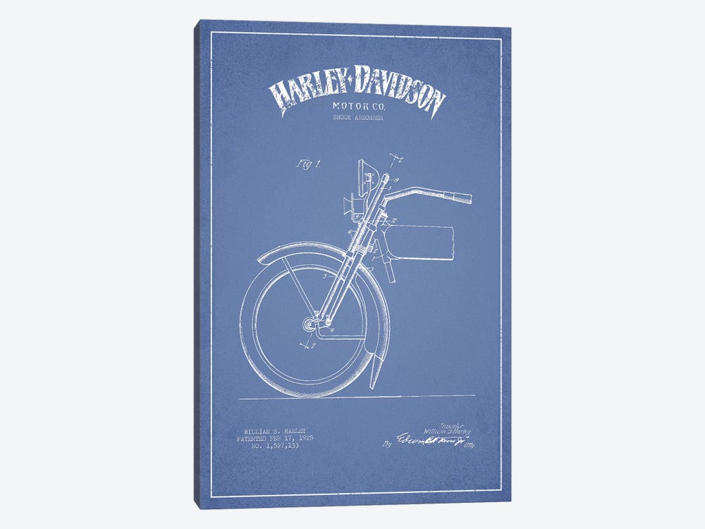 Harley-Davidson Motorcycles (Light Blue) IV by Aged Pixel 1-piece Canvas Print