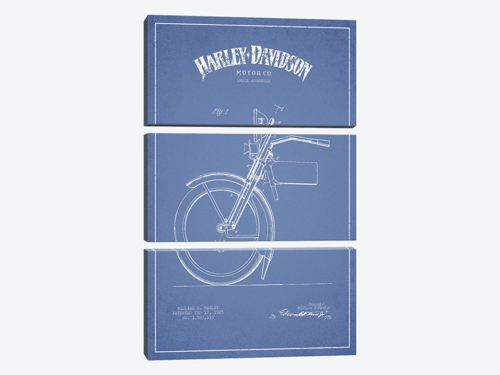 Harley-Davidson Motorcycles (Light Blue) IV by Aged Pixel 3-piece Art Print