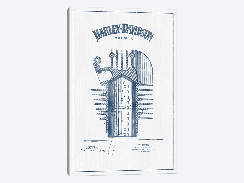 Harley-Davidson Motorcycles Cylinder (Ink) by Aged Pixel 1-piece Canvas Artwork