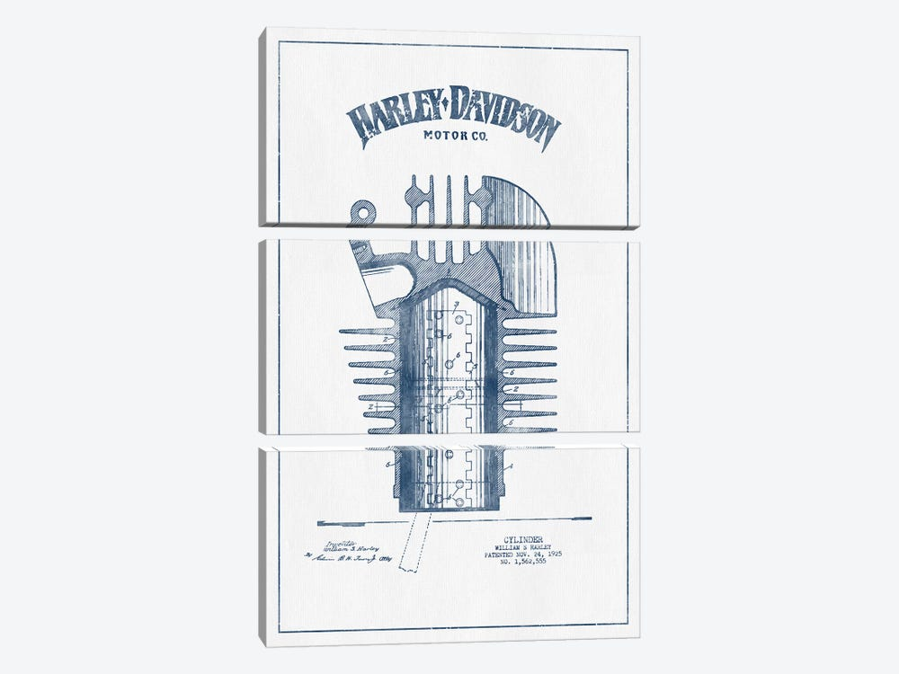 Harley-Davidson Motorcycles Cylinder (Ink) 3-piece Canvas Artwork