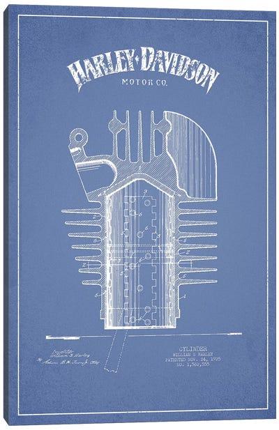 Harley-Davidson Motorcycles Cylinder (Light Blue) Canvas Art Print