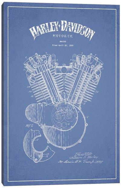Harley-Davidson Motorcycles Engine (Light Blue) Canvas Art Print