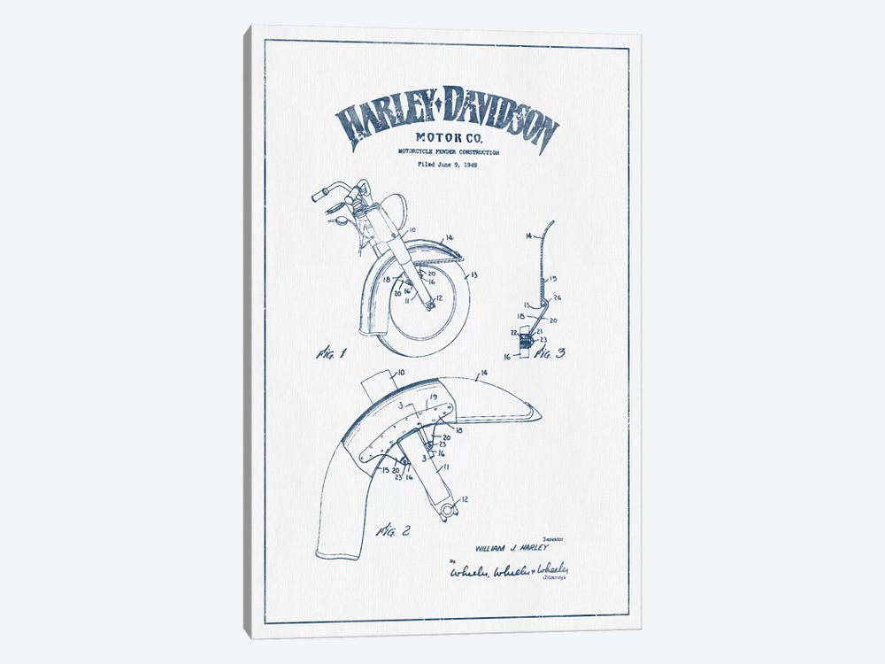 Harley-Davidson Motorcycles Fender Construction (Ink) by Aged Pixel 1-piece Art Print
