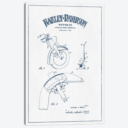Harley-Davidson Motorcycles Fender Construction (Ink) Canvas Print #ADP2956} by Aged Pixel Art Print