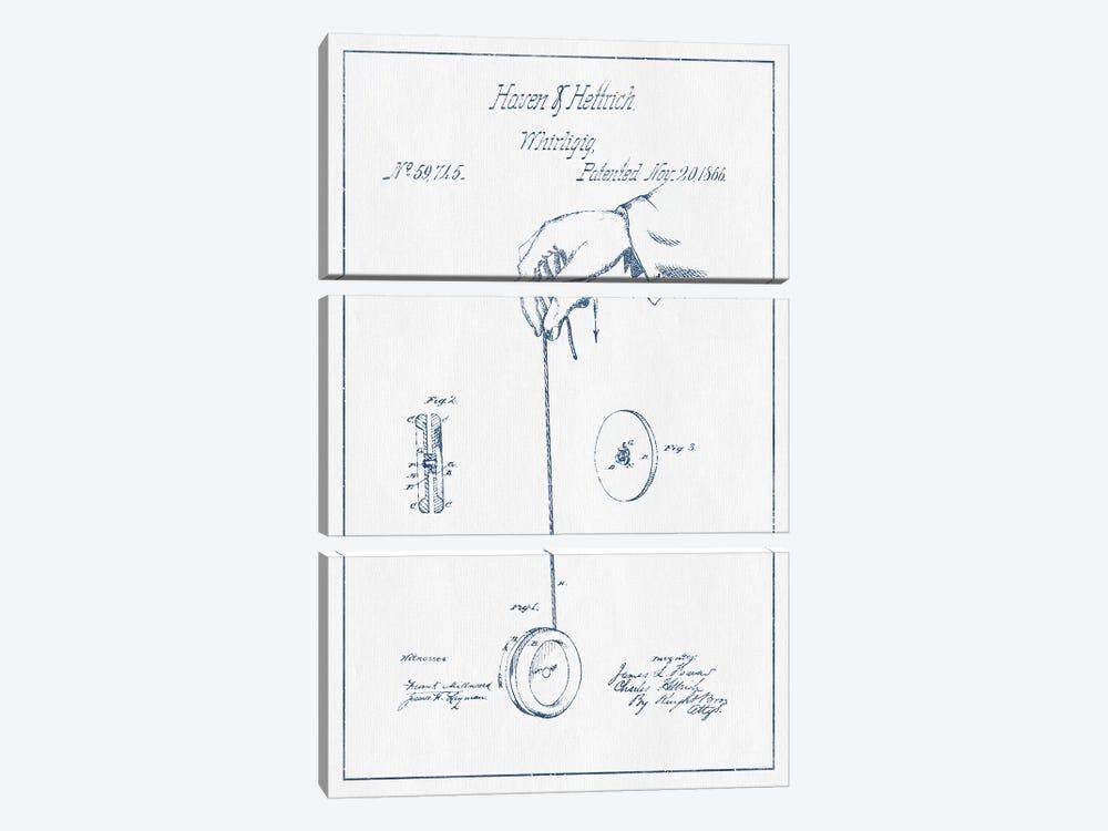 Haven & Hettrich Whirligig Patent Sketch (Ink) by Aged Pixel 3-piece Canvas Print