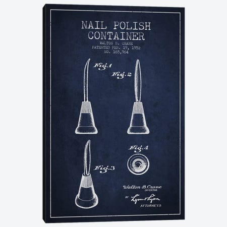 Container Nail Polish Navy Blue Patent Blueprint Canvas Print #ADP295} by Aged Pixel Canvas Print