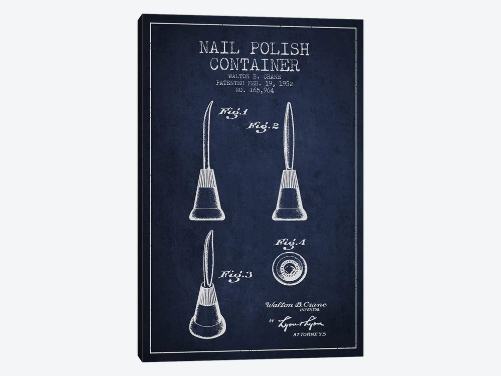 Container Nail Polish Navy Blue Patent Blueprint by Aged Pixel 1-piece Canvas Art
