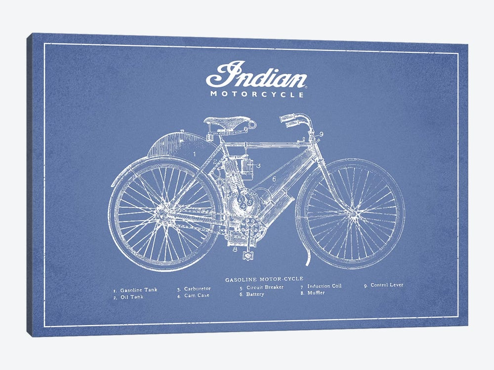 Indian Motorcycle (Light Blue) by Aged Pixel 1-piece Canvas Wall Art