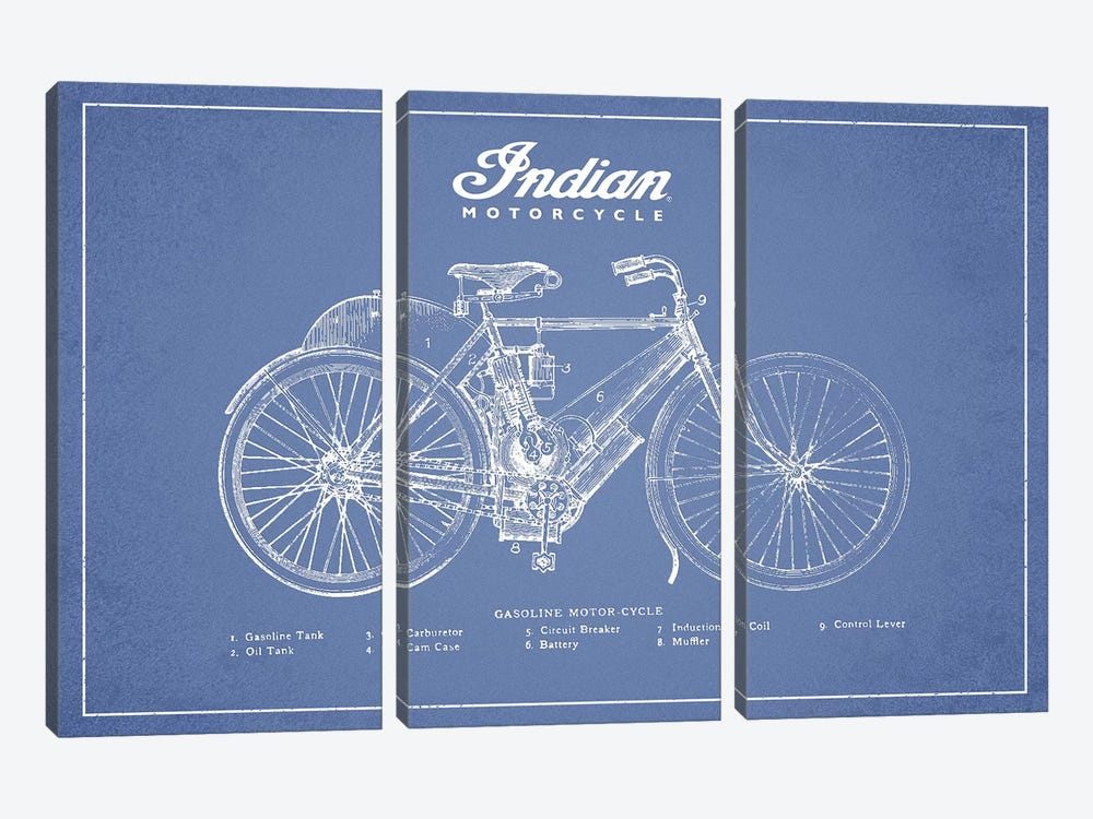 Indian Motorcycle (Light Blue) by Aged Pixel 3-piece Canvas Art