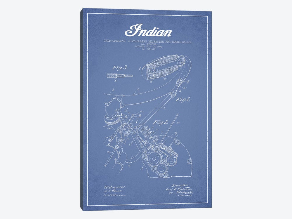 Indian Motorcycle Grip-Operated Controlling Mechanism For Motorcycles Patent Sketch (Light Blue) by Aged Pixel 1-piece Canvas Wall Art