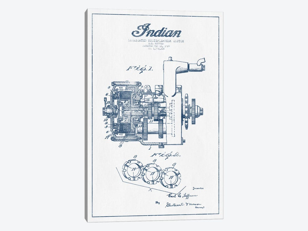 Indian Motorcycle Lubricated Multiple-Disk Clutch Patent Sketch  (Ink) by Aged Pixel 1-piece Art Print