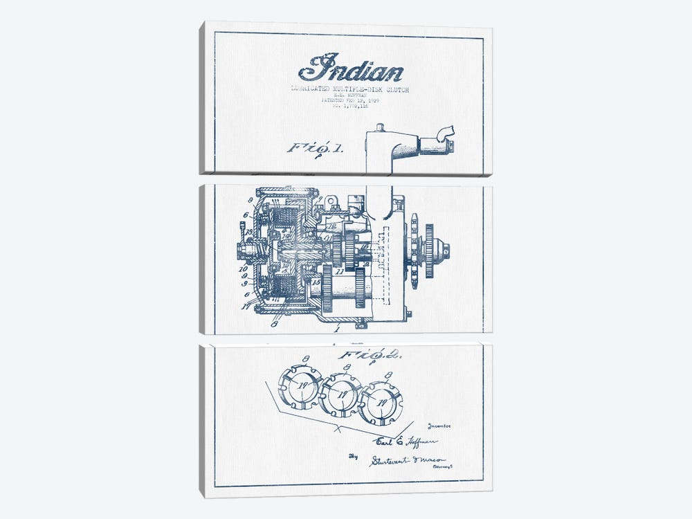 Indian Motorcycle Lubricated Multiple-Disk Clutch Patent Sketch  (Ink) 3-piece Canvas Print