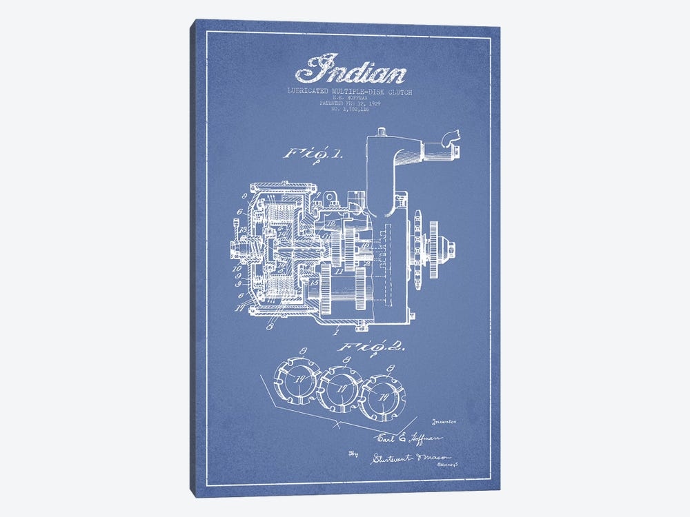 Indian Motorcycle Lubricated Multiple-Disk Clutch Patent Sketch (Light Blue) by Aged Pixel 1-piece Canvas Artwork