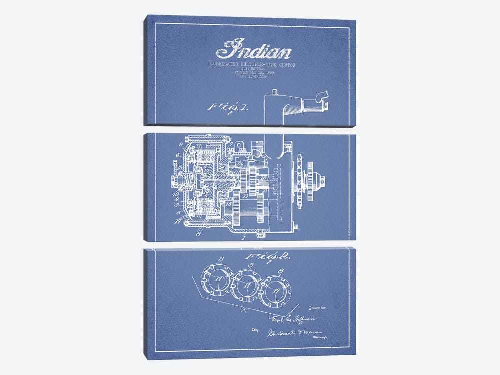 Indian Motorcycle Lubricated Multiple-Disk Clutch Patent Sketch (Light Blue) by Aged Pixel 3-piece Canvas Artwork