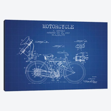 J. Canfield Motorcycle Patent Sketch (Blue Grid) Canvas Print #ADP2965} by Aged Pixel Canvas Art