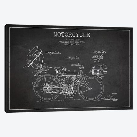 J. Canfield Motorcycle Patent Sketch (Charcoal) Canvas Print #ADP2966} by Aged Pixel Canvas Artwork
