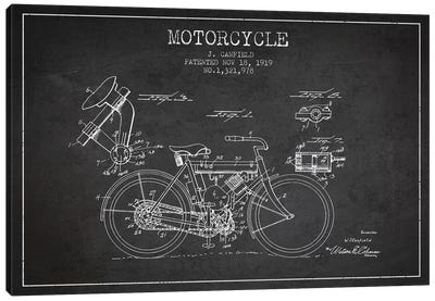 J. Canfield Motorcycle Patent Sketch (Charcoal) Canvas Art Print
