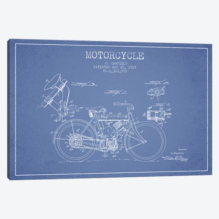 J. Canfield Motorcycle Patent Sketch (Light Blue) Canvas Print #ADP2967} by Aged Pixel Canvas Art
