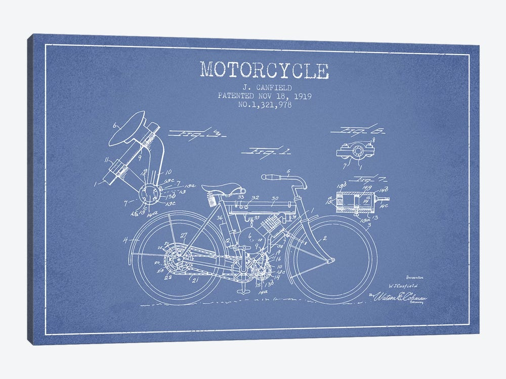 J. Canfield Motorcycle Patent Sketch (Light Blue) by Aged Pixel 1-piece Canvas Art Print