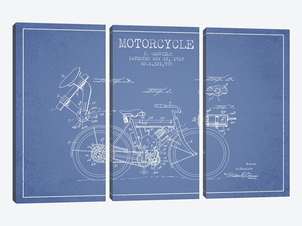 J. Canfield Motorcycle Patent Sketch (Light Blue) by Aged Pixel 3-piece Art Print