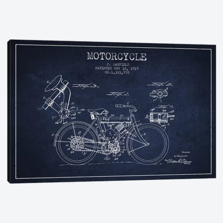 J. Canfield Motorcycle Patent Sketch (Navy Blue) Canvas Print #ADP2968} by Aged Pixel Canvas Art Print
