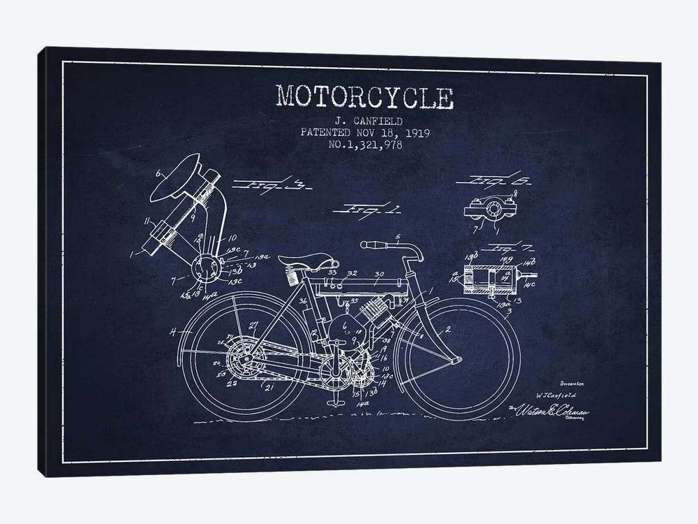 J. Canfield Motorcycle Patent Sketch (Navy Blue) by Aged Pixel 1-piece Canvas Art
