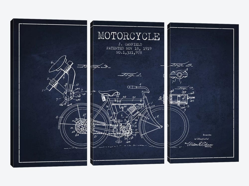J. Canfield Motorcycle Patent Sketch (Navy Blue) by Aged Pixel 3-piece Canvas Artwork