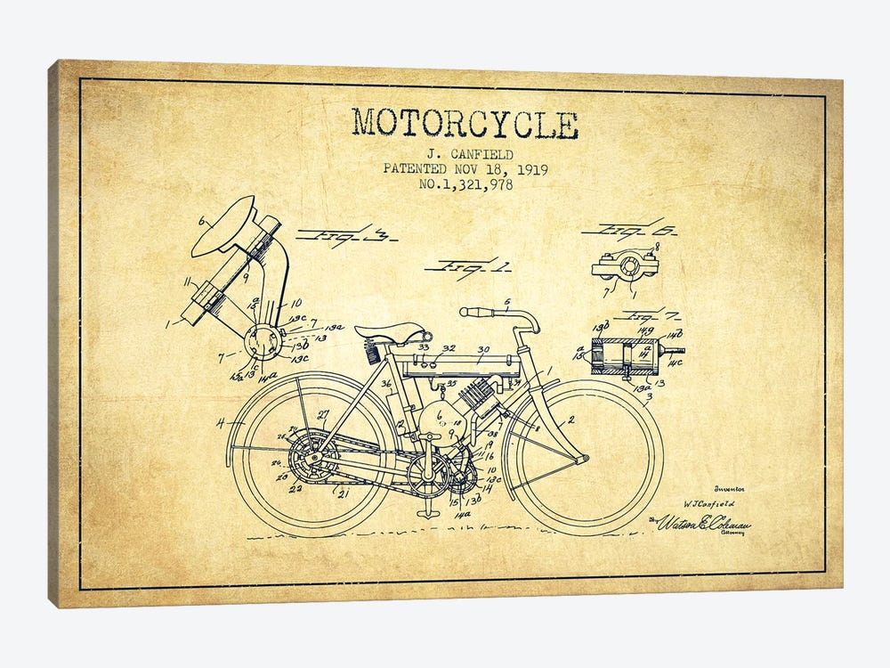 J. Canfield Motorcycle Patent Sketch (Vintage) by Aged Pixel 1-piece Canvas Print