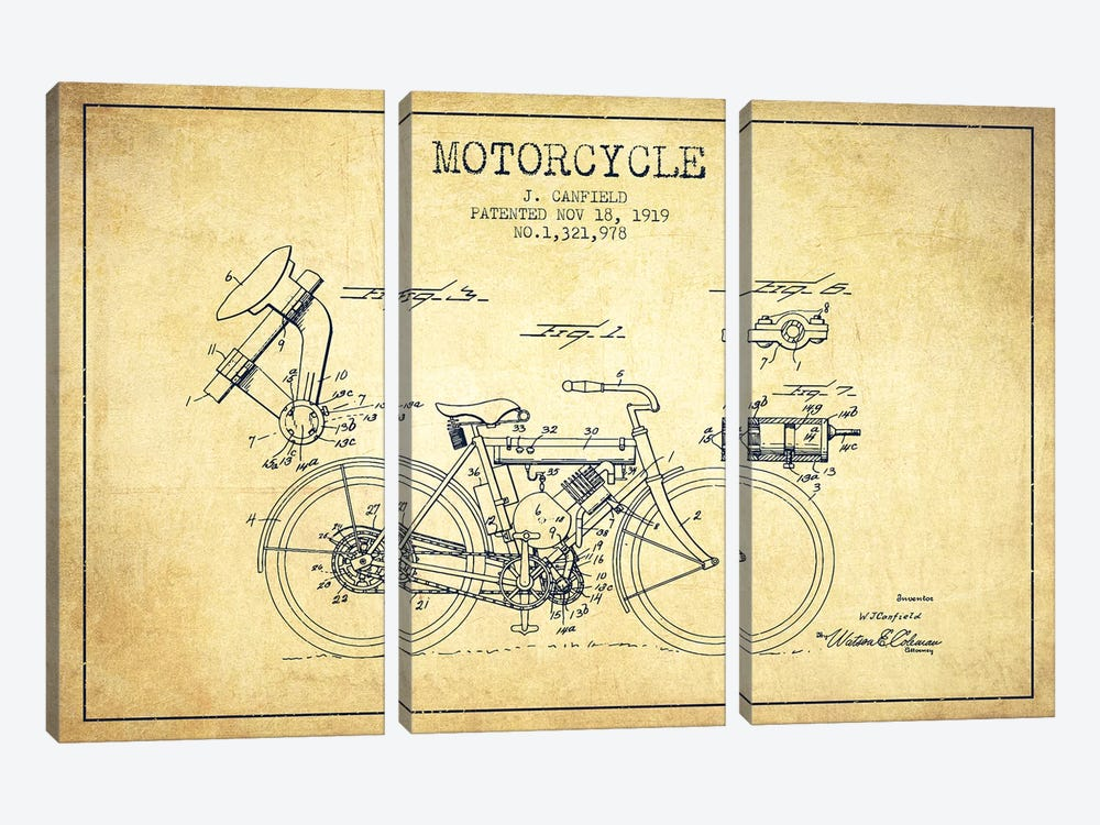 J. Canfield Motorcycle Patent Sketch (Vintage) by Aged Pixel 3-piece Canvas Art Print