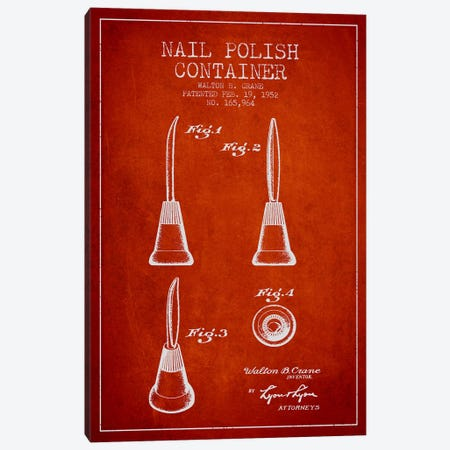 Container Nail Polish Red Patent Blueprint Canvas Print #ADP296} by Aged Pixel Canvas Print