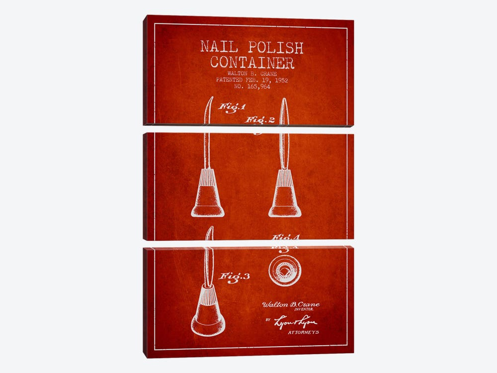 Container Nail Polish Red Patent Blueprint by Aged Pixel 3-piece Canvas Art Print