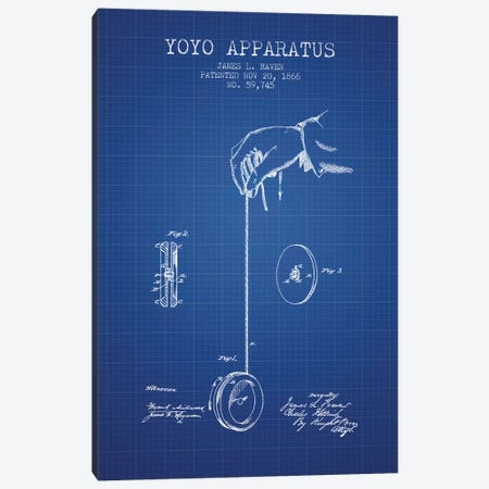 J.L. Haven Yoyo Apparatus Patent Sketch (Blue Grid) Canvas Print #ADP2970} by Aged Pixel Canvas Wall Art