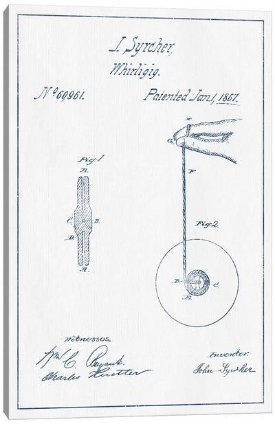 J. Syrcher Whirligig Patent Sketch (Ink) Canvas Art Print